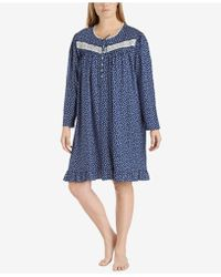 Eileen West - Plus Size Printed Cotton Knit Nightgown - Lyst