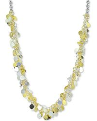 "Giani Bernini - Two-tone Shaky Disc 18"" Statement Necklace In Sterling Silver And 18k Gold-plate, Created For Macy's - Lyst"