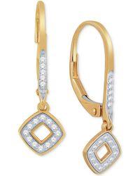 Macy's - Diamond Square Drop Earrings (1/10 Ct. T.w.) In 10k Gold - Lyst