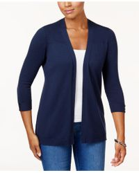 Karen Scott - Petite Ribbed-detail Open-front Cardigan, Created For Macy's - Lyst