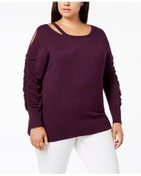 Love Scarlett - Plus Size Cutout Ruched-sleeve Sweater - Lyst