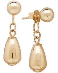 Macy's - Polished Stud And Drop Earrings In 10k Gold, 7/8 Inch - Lyst