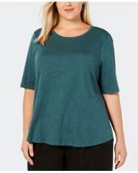 Eileen Fisher - Plus Size Organic Cotton Crew-neck Top - Lyst