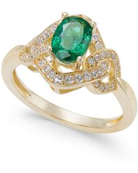 Macy's - Emerald (5/8 Ct. T.w.) & Diamond (1/4 Ct. T.w.) Ring In 14k Gold - Lyst
