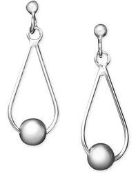 Giani Bernini - Center Bead Teardrop Earrings In Sterling Silver, Created For Macy's - Lyst
