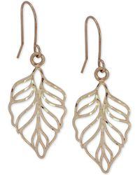 Macy's - Leaf Openwork Drop Earrings In 10k Gold - Lyst
