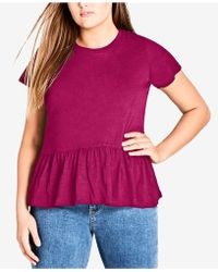 City Chic - Trendy Plus Size Cotton Ruffled Top - Lyst