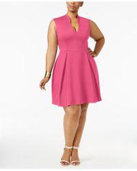 a389c16c751 Lyst - Ellen Tracy Plus Size Cutout Fit   Flare Dress in Blue