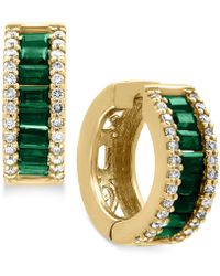 Effy Collection - Natural Emerald (1-1/10 Ct. T.w.) And Diamond (3/8 Ct. T.w.) Hoop Earrings In 14k Gold - Lyst
