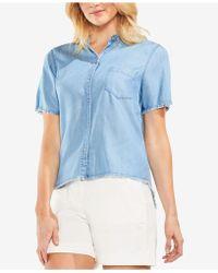 Vince Camuto - Frayed Denim Button-up Shirt - Lyst