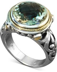 Effy Collection - Green Quartz Round Ring (5 Ct. T.w.) In Sterling Silver And 18k Gold - Lyst