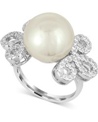 Majorica | Sterling Silver Imitation Pearl And Pavé Ring | Lyst