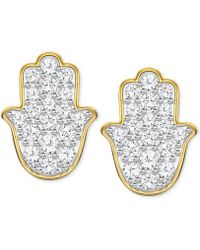 Swarovski - Gold-tone Crystal Hamsa Hand Stud Earrings - Lyst