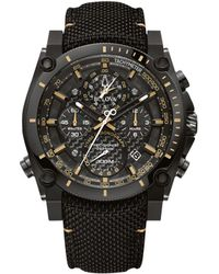 Bulova - Chronograph Precisionist Black Cordura Nylon Strap Watch 46.5mm - Lyst
