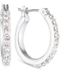 Anne Klein - Silver-tone Crystal Small Hoop Earrings - Lyst