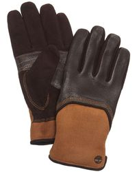 Timberland - Leather & Waxed Canvas Gloves - Lyst