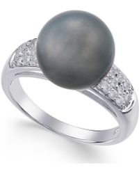 Macy's - Cultured Tahitian Pearl (11mm) And Diamond Ring (1/4 Ct. T.w.) In 14k White Gold - Lyst