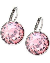 Swarovski - Silver-tone Pink Crystal Drop Earrings - Lyst