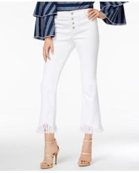 INC International Concepts - Cropped Fringe-trim Jeans, Created For Macy's - Lyst