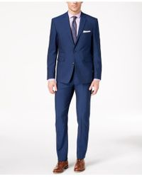 Vince Camuto - Slim-fit Stretch Blue Solid Suit - Lyst