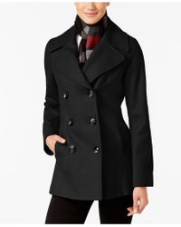 London Fog - Petite Double-breasted Peacoat With Scarf - Lyst