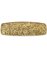 2028 - Gold-tone Floral Etched Hair Barrette - Lyst