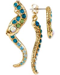 Betsey Johnson - Gold-tone Pavé Crystal Snake Front And Back Earrings - Lyst