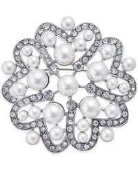 Nina - Silver-tone Crystal & Imitation Pearl Flower Brooch - Lyst