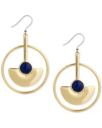 Lucky Brand | Gold-tone Blue Stone Circle Drop Earrings | Lyst