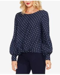 Vince Camuto - Printed Satin High-low Blouse - Lyst