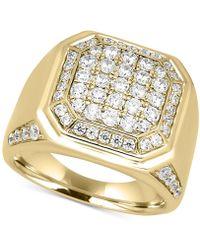Macy's - Men's Diamond Cluster Ring (2 Ct. T.w.) In 10k Gold - Lyst