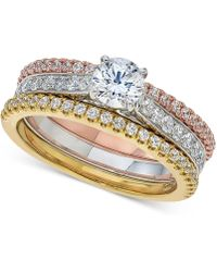 Macy's - Diamond 3-pc. Bridal Set (1-1/3 Ct. T.w.) In 14k White, Rose And Yellow Gold - Lyst