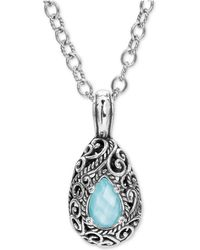 """Carolyn Pollack - Turquoise /rock Crystal Doublet 18"""" Pendant Necklace In Sterling Silver - Lyst"""