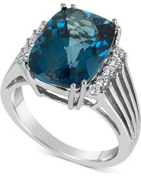 Macy's - Blue Topaz (7 Ct. T.w.) & Diamond (1/5 Ct. T.w.) Ring In 14k White Gold - Lyst