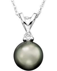 Macy's - Tahitian Cultured Pearl (8mm) And Diamond Accent Pendant Necklace In 14k White Gold - Lyst