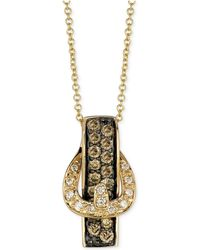 Le Vian - White Diamond Accent And Chocolate Diamond (1/2 Ct. T.w.) Buckle Pendant Necklace In 14k Gold - Lyst