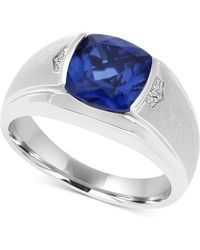 Macy's - Men's Lab-created Blue Sapphire (5 Ct. T.w.) & Diamond Accent Ring In 10k White Gold - Lyst