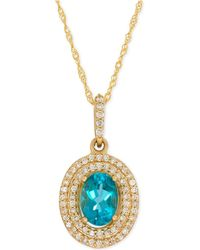 Macy's | Apatite (9/10 Ct. T.w.) And Diamond (1/5 Ct. T.w.) Halo Pendant Necklace In 14k Gold | Lyst