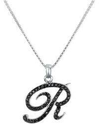 """Macy's - Sterling Silver Necklace, Black Diamond """"r"""" Initial Pendant (1/4 Ct. T.w.) - Lyst"""