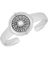 Lucky Brand - Silver-tone Stone & Imitation Mother-of-pearl Reversible Cuff Bracelet - Lyst