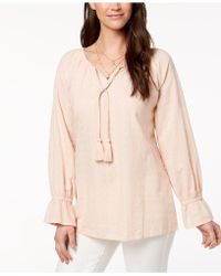 Style & Co. - Petite Tasselled Embroidered Top, Created For Macy's - Lyst