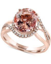 Effy Collection - Morganite (3-1/3 Ct. T.w.) And Diamond (1/5 Ct. T.w.) Ring In 14k Rose Gold - Lyst