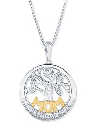 "Macy's - Diamond Family Tree Mom 18"" Pendant Necklace (1/10 Ct. T.w.) In Sterling Silver And 14k Gold - Lyst"