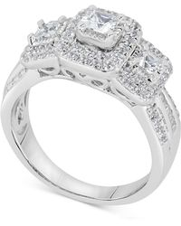 Macy's - Diamond Princess Trio Engagement Ring (1 Ct. T.w.) In 14k White Gold - Lyst