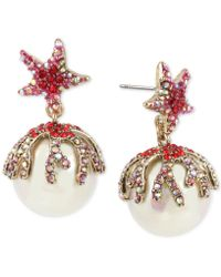 Betsey Johnson - Two-tone Multicolor Pavé & Imitation Pearl Starfish Drop Earrings - Lyst