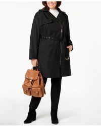 Michael Kors - Michael Plus Size Asymmetrical Hooded Trench Coat - Lyst