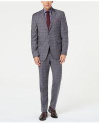 Original Penguin - Slim-fit Stretch Gray/maroon Windowpane Suit - Lyst