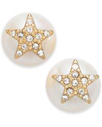 Kate Spade - Pearl Gold-tone Pavé Star & Imitation Pearl Stud Earrings - Lyst