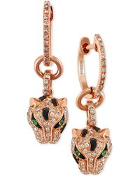 Effy Collection - Diamond (3/8 Ct. T.w.) And Tsavorite Accent Panther Drop Earrings In 14k Rose Gold - Lyst