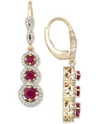 Rare Featuring Gemfields - Certified Ruby (1-1/10 Ct. T.w.) And Diamond (1/2 Ct. T.w.) Triple Stone Infinity Drop Earrings In 14k Gold - Lyst